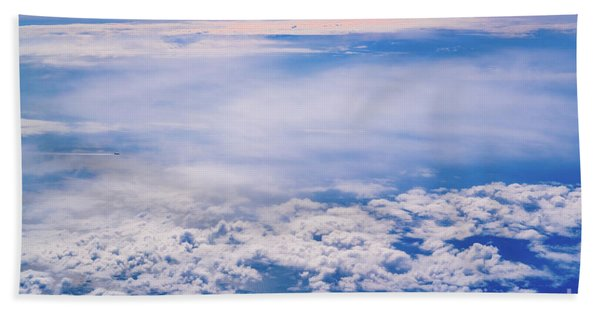 Intense Blue Sky With White Clouds And Plane Crossing It, Seen From Above In Another Plane. Beach Towel