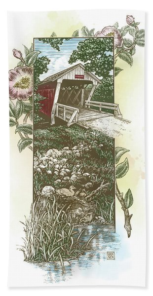 Iowa Covered Bridge Beach Towel