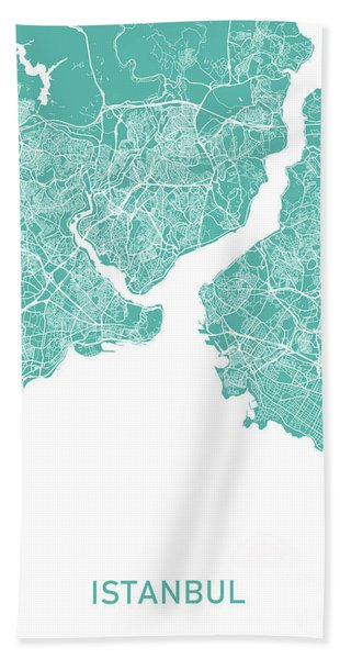 Istanbul Map Teal Beach Towel