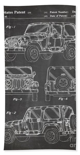Jeep Wrangler Patent, Jeep Art - Chalkboard Beach Towel
