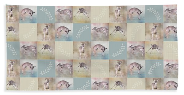 Joyful Little Fawns Collage Beach Towel