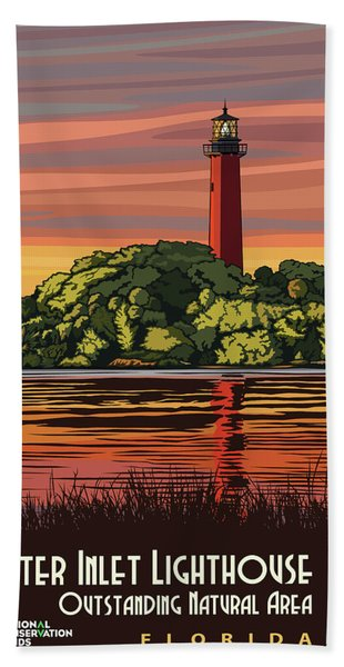 Jupiter Inlet Lighthouse Travel Poster Beach Towel