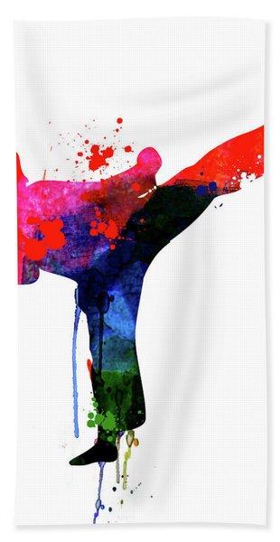 Karate Kid Watercolor Beach Towel