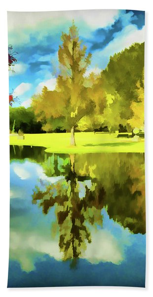Lake Reflection - Faux Painted Beach Towel