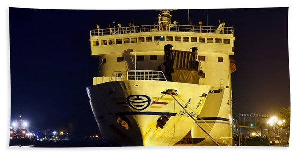 Large Ferry Docked In Port By Night Beach Towel