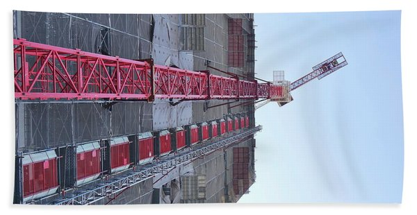 Large Scale Construction Site With Crane Beach Towel
