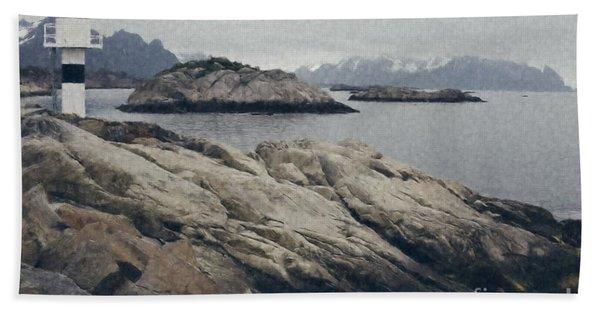 Lighthouse On Rocks Near The Atlantic Coast, Digital Art Oil Pai Beach Towel