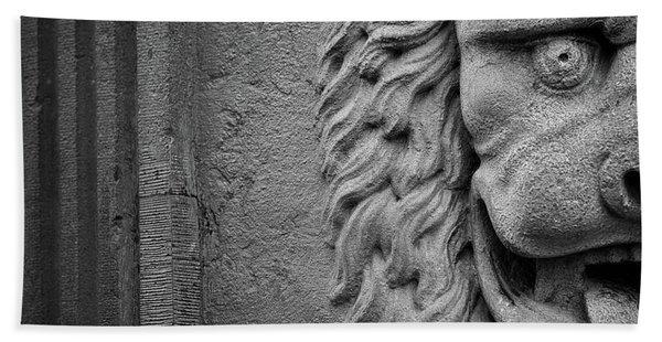 Lion Statue Portrait Beach Towel