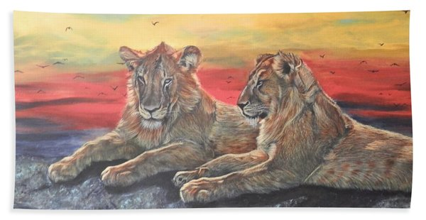 Lion Sunset Beach Towel