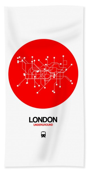 London Red Subway Map Beach Towel
