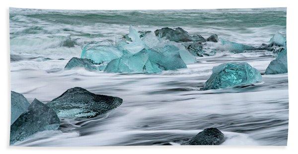 Long Exposure At The Jokulsarlon Ice Beach Beach Towel