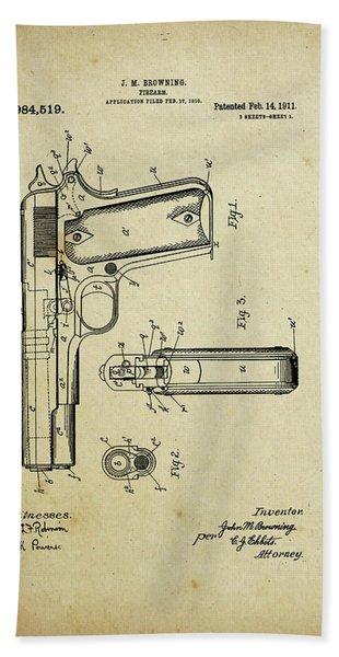 M1911 Browning Pistol Patent Beach Towel