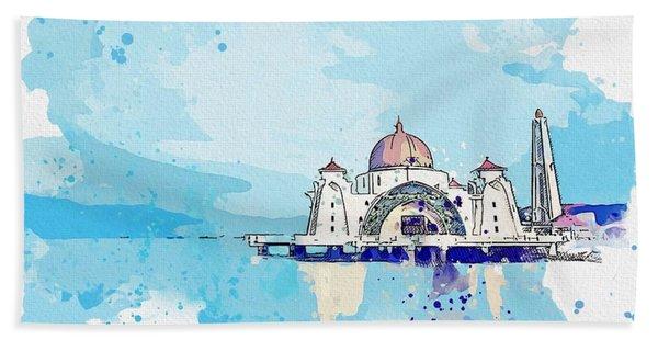 Malacca Straits Mosque   Masjid Selat Melaka  C2019, Watercolor By Adam Asar Beach Towel