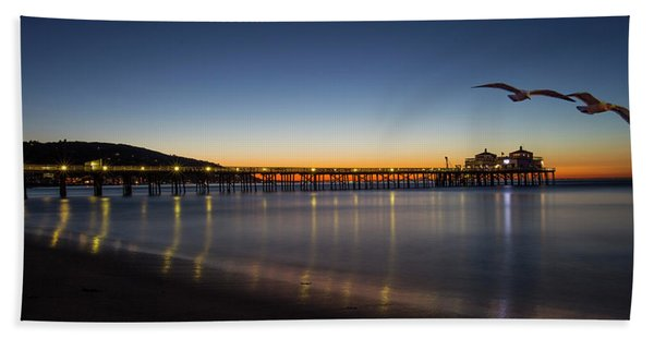 Malibu Pier At Sunrise Beach Towel