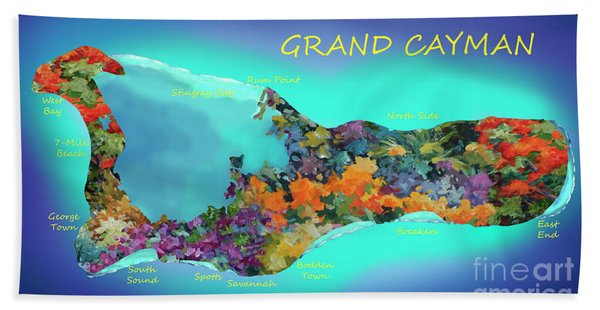 Map Of Grand Cayman Beach Towel