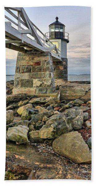 Marshall Point Light From The Rocks Beach Towel