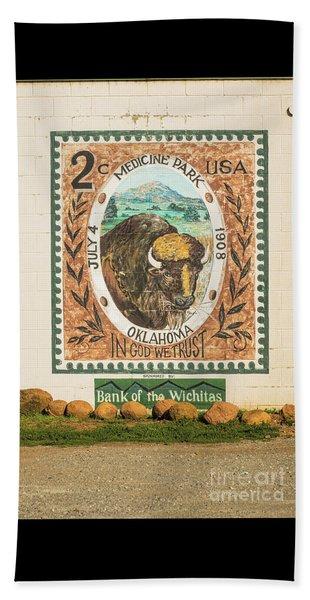 Medicine Park Stamp Mural Beach Sheet