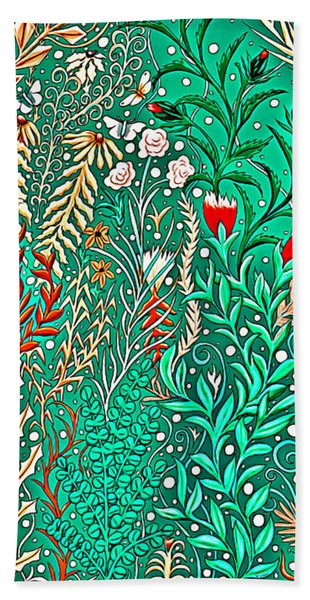 Millefleurs Home Decor Design In Brilliant Green And Light Oranges With Leaves And Flowers Beach Towel