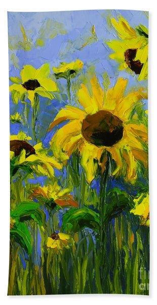 Misty Morning - Sunflower Field Oil Painting, Landscape Art Beach Sheet