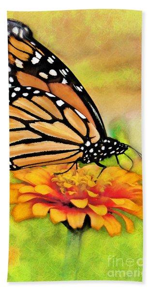 Monarch Butterfly On Flower Beach Towel