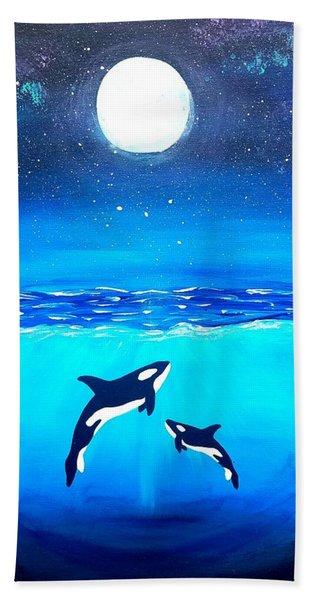 Moon Lit Orcas Beach Towel