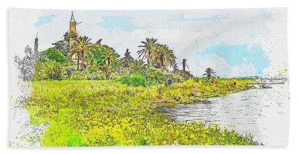 Mosque, Larnaca Cyprus Watercolor By Ahmet Asar Beach Towel