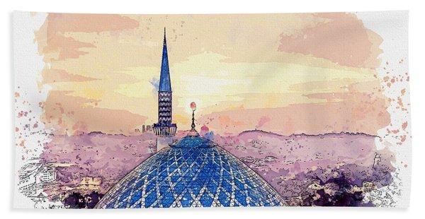 Mosque, Shah Alam, Malaysia  C2019, Watercolor By Adam Asar Beach Towel