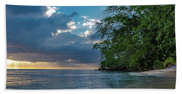 Negril Beach Sunburst At Sunset Beach Towel