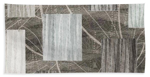 Neutral Leaf Print Squares Cream Beach Sheet