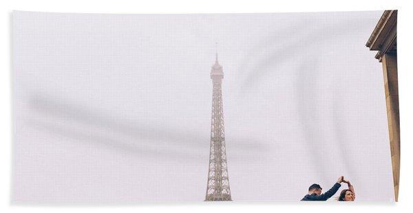 Newly-wed Couple On Their Honeymoon In Paris, Loving Having A Date Near The Eiffel Tower Beach Towel