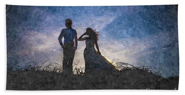 Newlywed Couple After Their Wedding At Sunset, Digital Art Oil P Beach Towel
