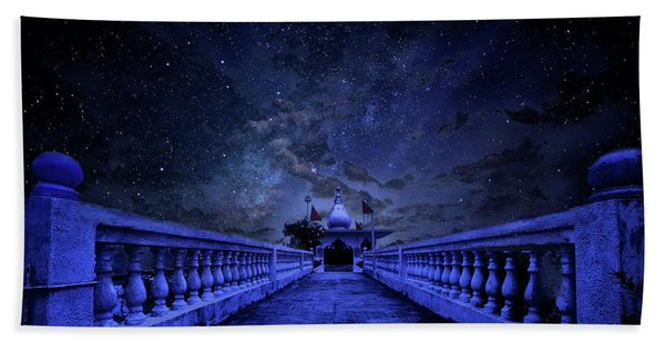 Night Sky Over The Temple Beach Towel