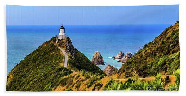 Nugget Point Lighthouse, New Zealand Beach Towel