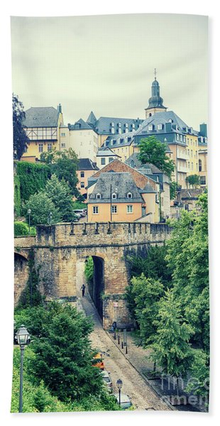 old city Luxembourg from above Beach Towel