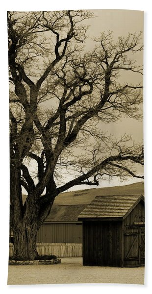 Old Shanty In Sepia Beach Towel