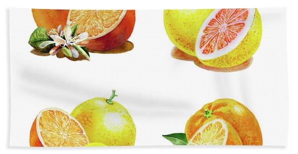 Orange Grapefruit Lemon Watercolor Fruit Illustration Beach Towel