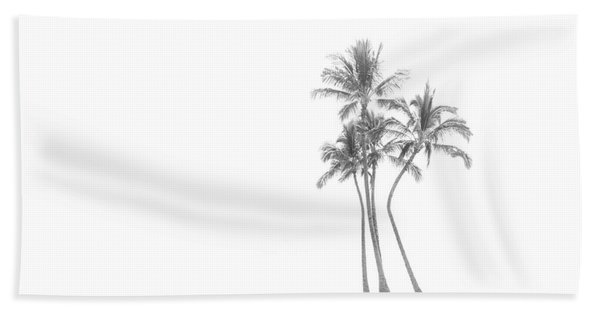 Palm Tree Cluster In Black And White Beach Sheet