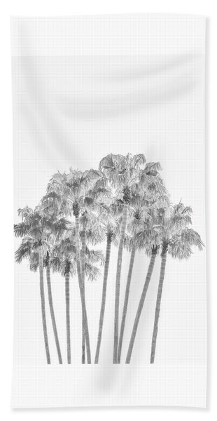 Palm Tree Grove In Black And White Beach Sheet