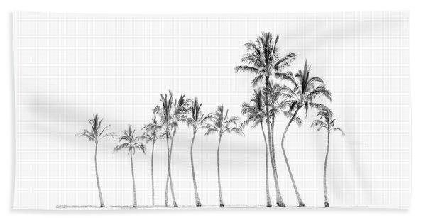 Palm Tree Horizon In Black And White Beach Towel