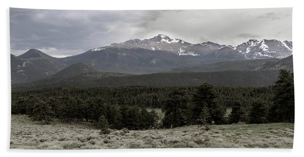 panoramic view of Rocky Mountains Beach Towel