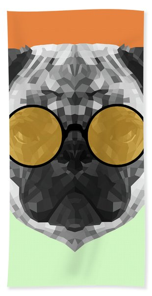 Party Pug In Yellow Glasses Beach Towel