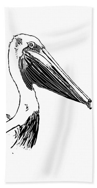 Pelican On Waves Beach Towel
