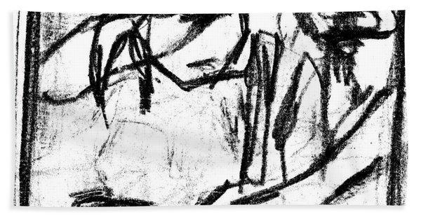Pencil Squares Black Canine B Beach Towel