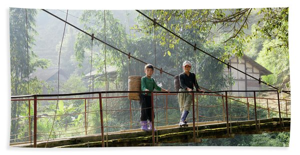 People And Children From Sapa, Mountainous Area Of Northern Vietnam In Their Daily Life. Beach Towel