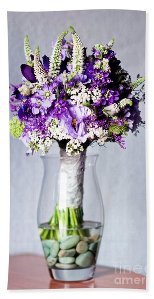 Perfect Bridal Bouquet For Colorful Wedding Day With Natural Flowers. Beach Towel