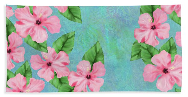 Pink Hibiscus Tropical Floral Print Beach Towel