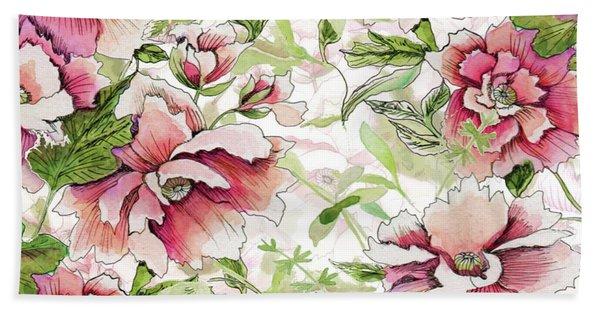Pink Peony Blossoms Beach Sheet