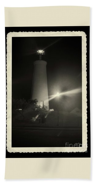 Port Isabel Lighthouse In Sepia    Beach Towel