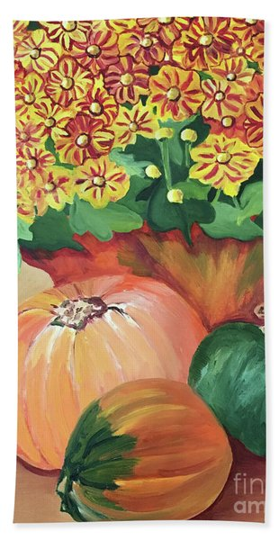Pumpkin With Flowers Beach Towel