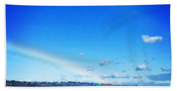 Rainbow In Blue Beach Towel
